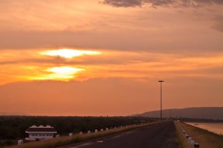 DAM and sunset photo