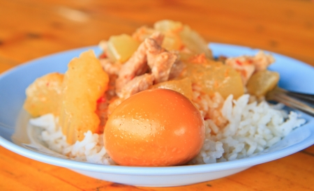 Cooked rice with  curry pig and egg on dish photo