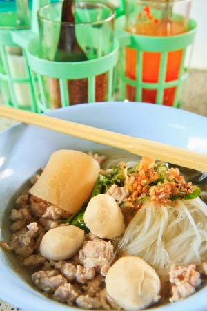 Thai Noodle Soup with Meat photo