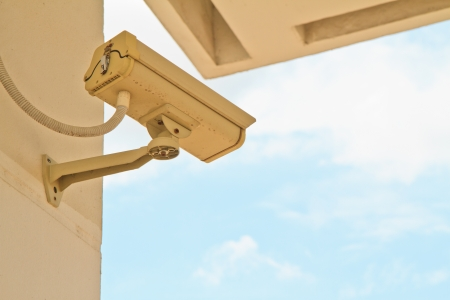 CCTV security camera at home and blue sky Stock Photo - 15126035
