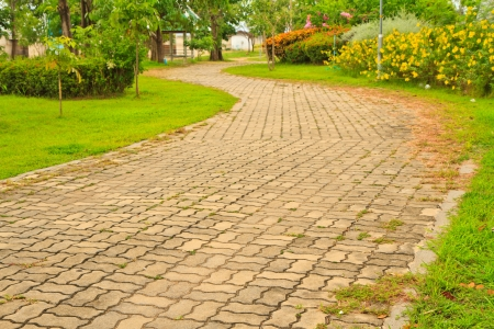 Pathway in Garden with concrete bumps Stock Photo - 15220873