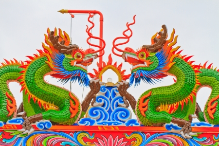 Chinese style dragon statue on roof photo