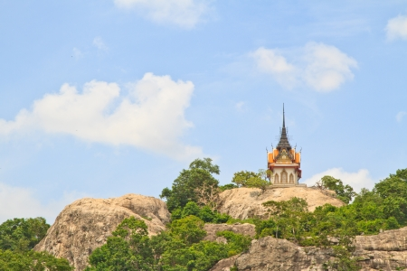 Buddhist temple on mountain and sky Stock Photo