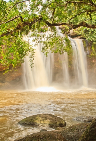 Beautiful Unesco Haew Suwat Waterfall in Khao Yai, Thailand photo