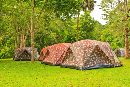 Wall Style Camping Tents at Rustic Campground during Daytime in Woods Stock Photo - 15605727