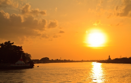 Koh Kret Island,Chao Phraya River  and sunset, Thailand photo