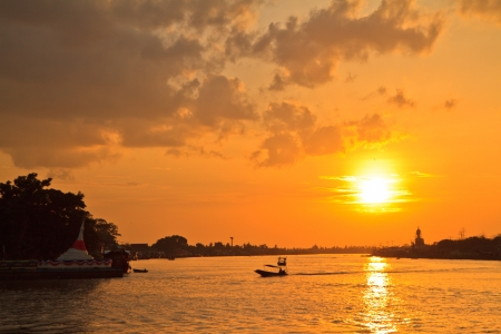 Koh Kret Island,Chao Phraya River  and sunset, Thailand