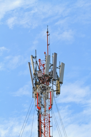 Telecommunication tower with a sunlight  Used to transmit television signals  photo
