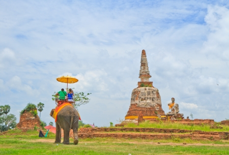 pagoda in thai the  temple , Buddha image and  tourist sit elephant photo
