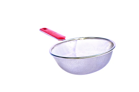 The colander from a metal grid is isolated on a white background photo