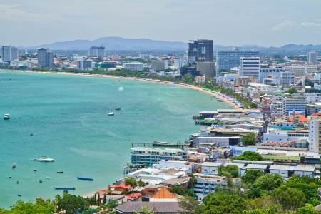 A bird s view over the beach of Pattaya city in Chonburi Evening, Thailand   photo