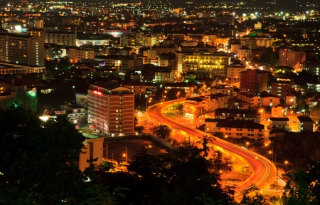 A birds view over the  Pattaya city and road  in Chonburi at night, Thailand photo