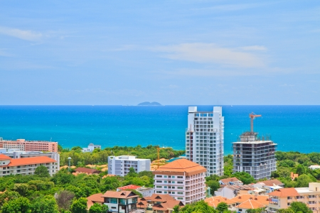 A birds view over the  Pattaya city in Chonburi Evening, Thailand Stock Photo