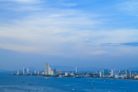 A bird's view over the beach of Pattaya city in Chonburi Evening, Thailand photo