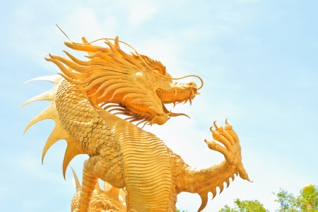 Chinese style dragon statue in temple photo