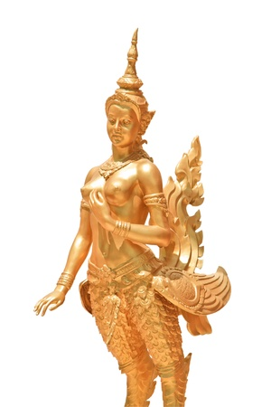 Golden kinnaree statue, a half woman and swan on isolate background photo