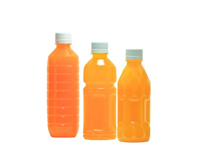 bottles of juice on a white background photo