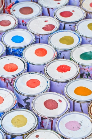 paint buckets with various colors Stock Photo - 16362322