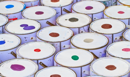 paint buckets with various colors Stock Photo - 16387376