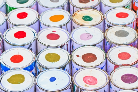 paint buckets with various colors Stock Photo - 16362318
