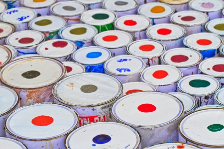paint buckets with various colors Stock Photo - 16362321