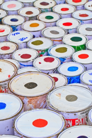 paint buckets with various colors Stock Photo - 16362319