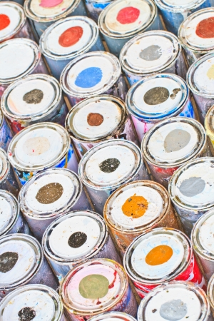 paint buckets with various colors photo