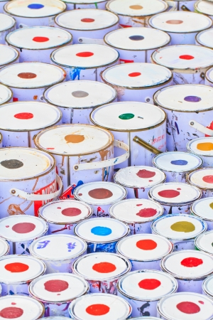 paint buckets with various colors Stock Photo - 16362317