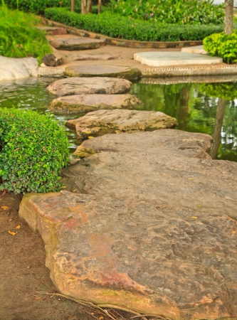Pathway in Garden with stone photo