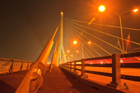 night scene with twilight time in Rama8 bridge,Bangkok,Thai land photo