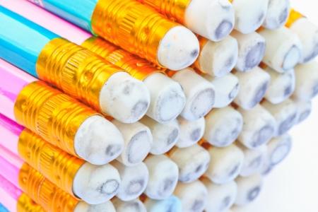 Closeup the many pencils on white background photo