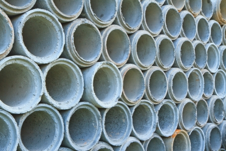 Concrete drainage pipes stacked on construction site, Can use background photo