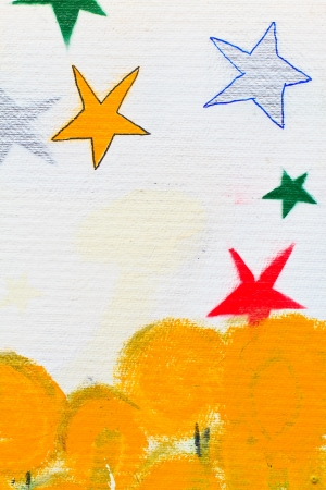 painted stars and yellow tree, You can use background photo