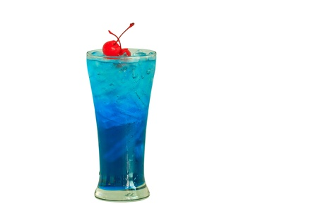 Close up one blue cocktail and cherry in glass photo