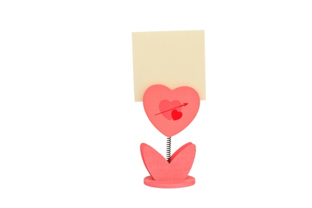 Blank note paper and heart paper-clip, Isolated on white background Stock Photo - 17794879