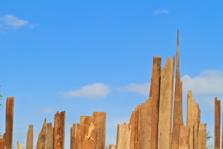 Old wood plank texture on blue sky, Can use  background Stock Photo - 17794907