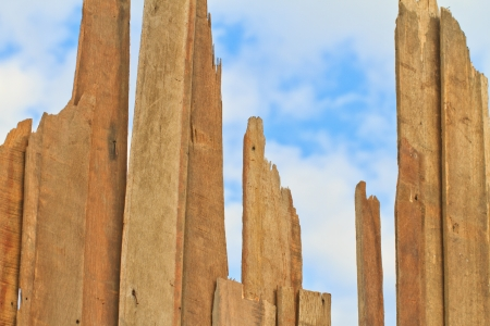 Old wood plank texture on blue sky, Can use  background Stock Photo - 17794940