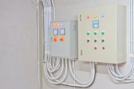 Electricity distribution box  Fusebox   On white wall background