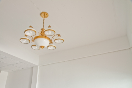 Modern room with chandelier ,  panel and white concrete wall photo