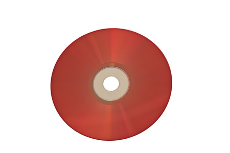 Blank red compact disc isolated on white background