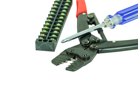 crimping: Ratchet Control Crimping Tool and  screw driver on white background Stock Photo