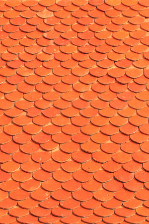 Orange roof tiles of a old built house