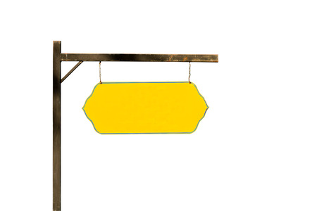 Blank yellow sign, Isolated on white background  .