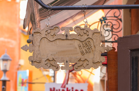 Blank old wood sign, on shop 스톡 콘텐츠