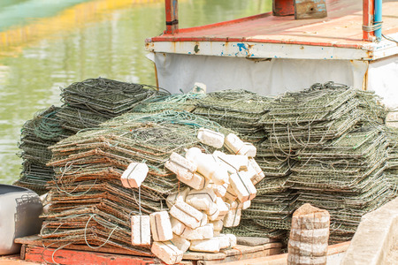 traps: Close up seafood and collapsible traps on boat. Stock Photo