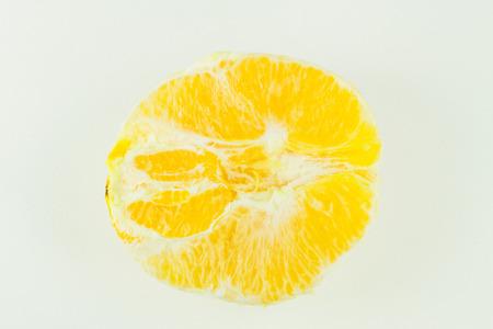 Half tangerine or half  orange peel, Isolated on white background 스톡 콘텐츠
