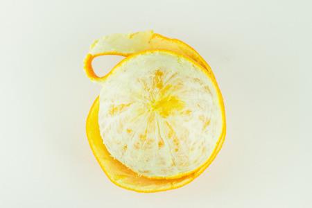 tangerine or orange peel, Isolated on white background 스톡 콘텐츠