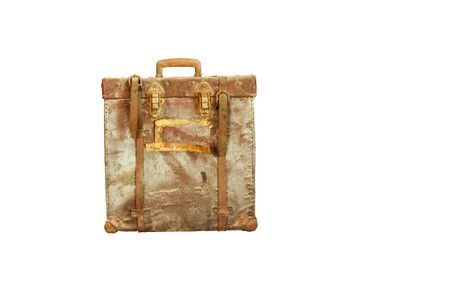An old retro-styled suitcase from red leather isolated on white background Stock Photo