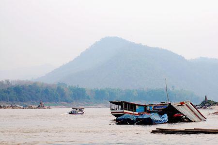 lao: Vie de rivi�re Mae Kong en Lao Banque d'images