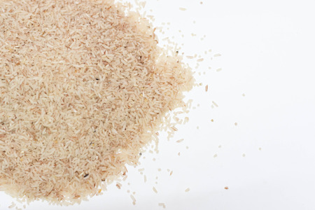 rice on a white background Stock Photo